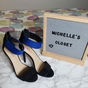 Black and blue heeled sandal